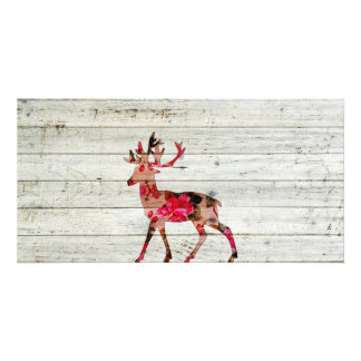 Vintage Floral Deer Gray Retro Wood Photo Print Personalized Photo Card