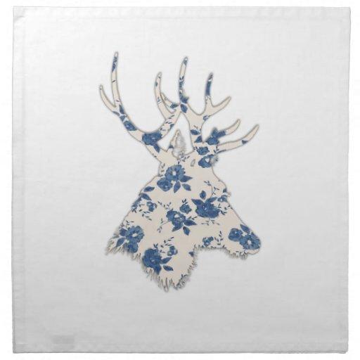Vintage Floral Deer Head Printed Napkin