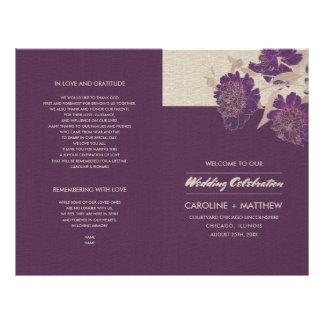 Vintage Floral Design Folded Wedding Programs