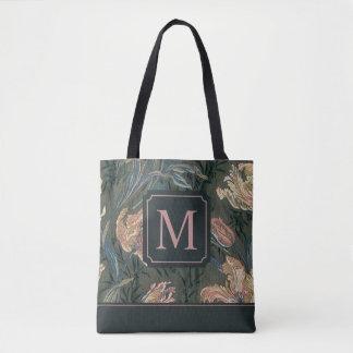 Vintage Floral Design Monogram | Tote Bag