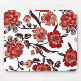 Vintage Floral Design Mouse Pad - Red/White/Black