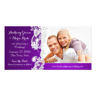 Vintage Floral Design Purple Save the Date Photo Customized Photo Card