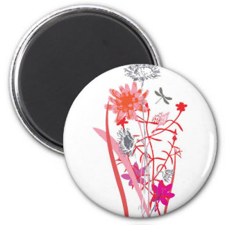 vintage floral design with dragonfly 2 inch round magnet