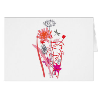 vintage floral design with dragonfly greeting card