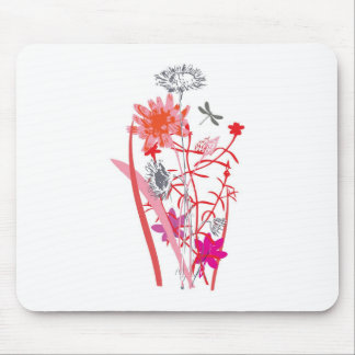 vintage floral design with dragonfly mousepads