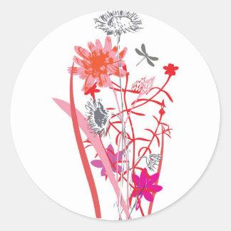 vintage floral design with dragonfly round sticker