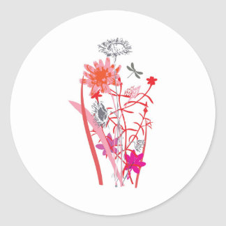 vintage floral design with dragonfly stickers