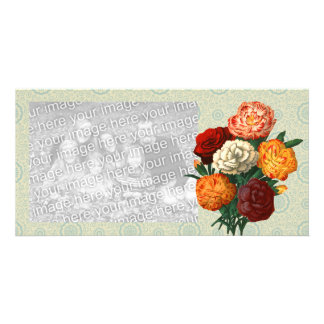 Vintage Floral Display on mint floral pattern Photo Card Template