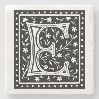 Vintage Floral 'E' Monogram Stone Coaster