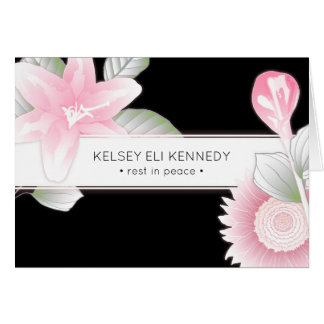 vintage floral elegant funeral card