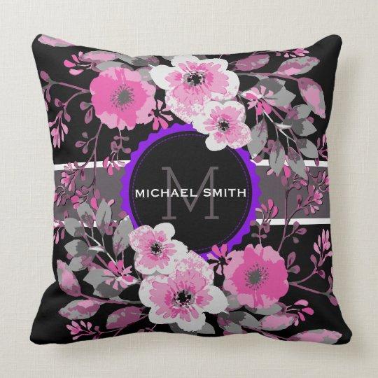 Vintage Floral Elegant Monogram #10 Throw Pillow