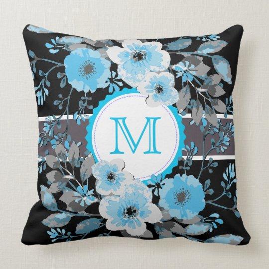 Vintage Floral Elegant Monogram #11 Throw Pillow