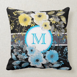 Vintage Floral Elegant Monogram #12 Throw Pillow