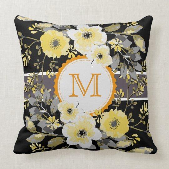 Vintage Floral Elegant Monogram #14 Throw Pillow