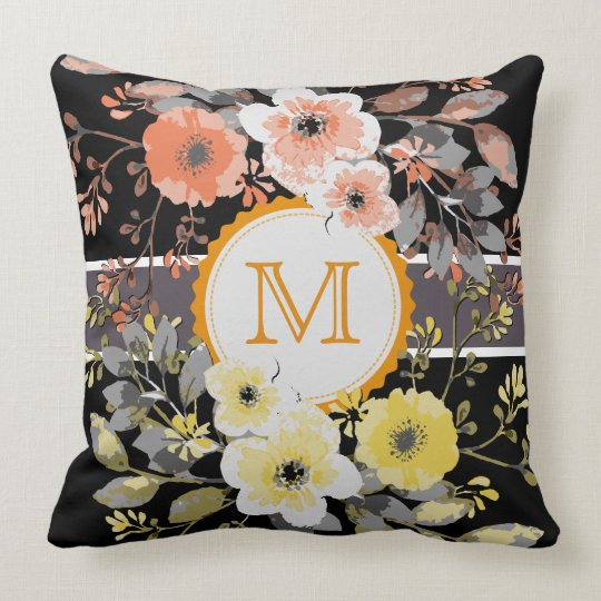 Vintage Floral Elegant Monogram #15 Throw Pillow