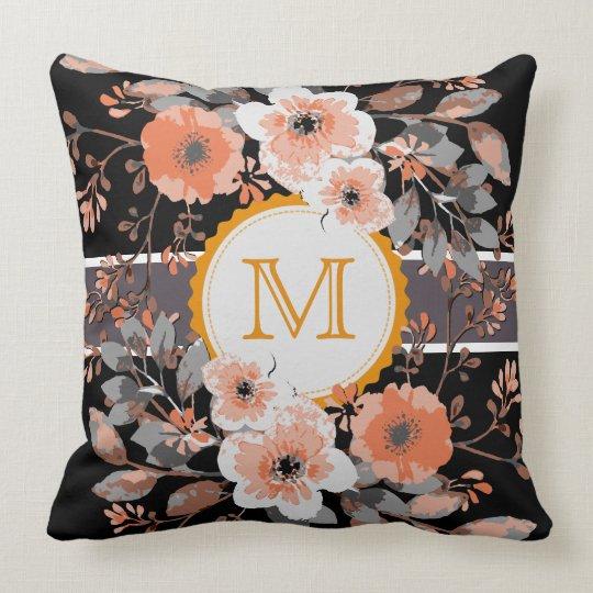 Vintage Floral Elegant Monogram #16 Throw Pillow