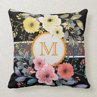 Vintage Floral Elegant Monogram #3 Throw Pillow