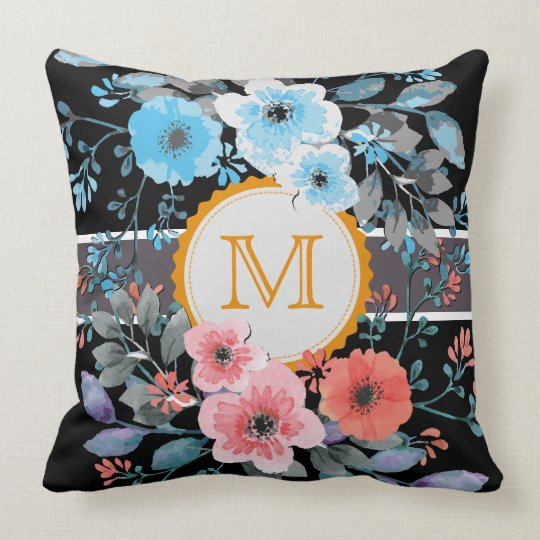 Vintage Floral Elegant Monogram #4 Throw Pillow