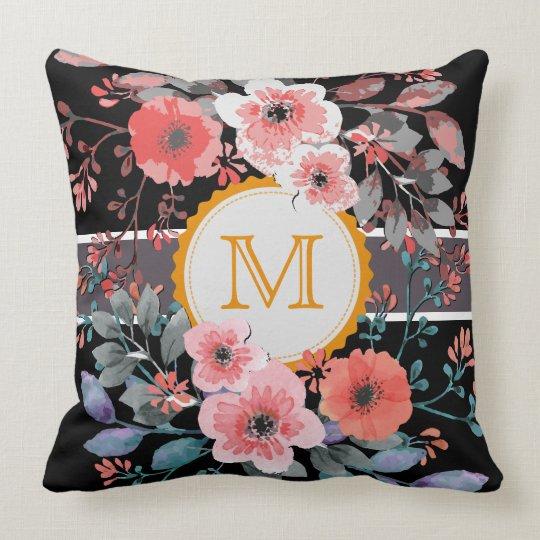 Vintage Floral Elegant Monogram #5 Throw Pillow