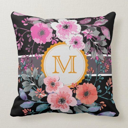 Vintage Floral Elegant Monogram #6 Throw Pillow