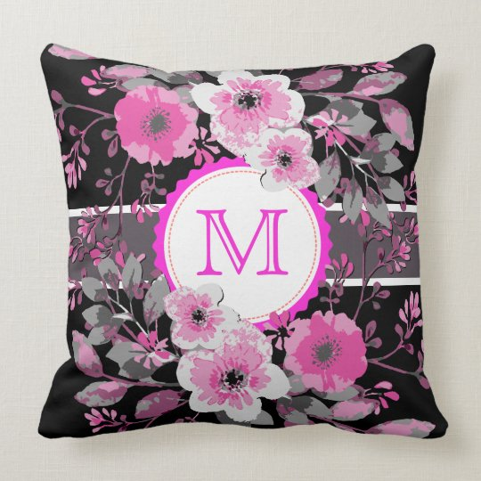 Vintage Floral Elegant Monogram #7 Throw Pillow