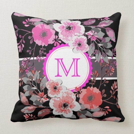 Vintage Floral Elegant Monogram #8 Throw Pillow
