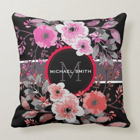 Vintage Floral Elegant Monogram #9 Throw Pillow
