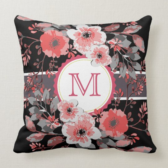Vintage Floral Elegant Monogram #9 Throw Pillow