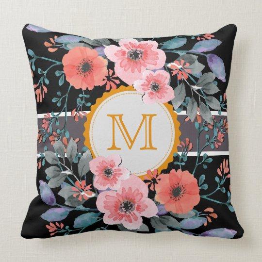 Vintage Floral Elegant Monogram Throw Pillow