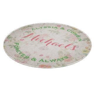 Vintage Floral Elegant Wedding Gift Round Glass Boards