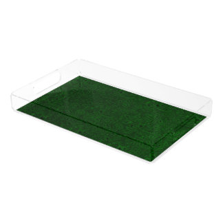 Vintage Floral Emerald Green Leaf Acrylic Tray