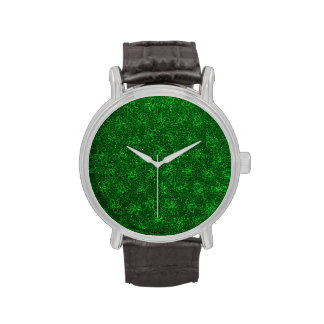 Vintage Floral Emerald Green Violets Wrist Watch