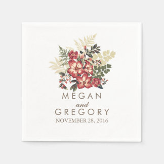 vintage floral fall burgundy wedding disposable napkins