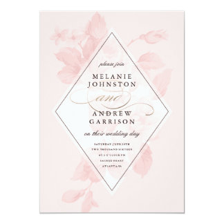 Vintage floral faux foil wedding invitation