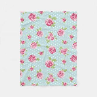 Vintage Floral Fleece Blanket Shabby Chic Roses