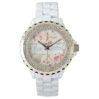 Vintage Floral Fleur Label Wrist Watch