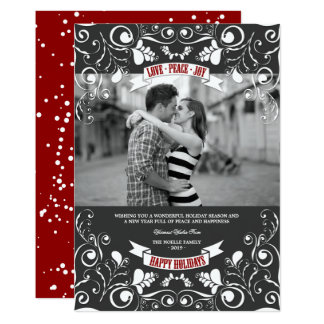 Vintage Floral Flourish Classic Holiday Photo Card