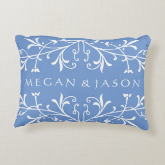 Vintage Floral Flourish Custom Text and Color Decorative Pillow