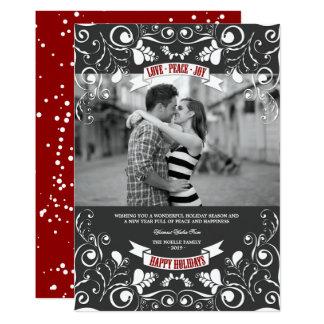 "Vintage Floral Flourish Photo Holiday Greetings 5"" X 7"" Invitation Card"
