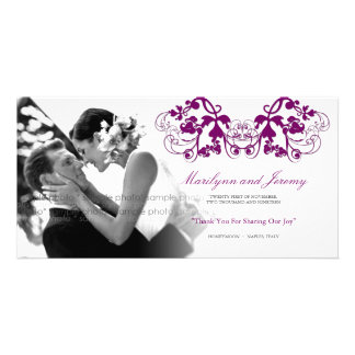 Vintage Floral Flourish Purple Wedding Thank You Photo Cards