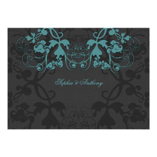 Vintage Floral Flourish Teal Wedding Invitation Personalized Invites