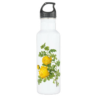 Vintage Floral Flowers, Yellow Roses by Redoute 710 Ml Water Bottle