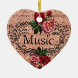 Vintage Floral For love of Music Ceramic Ornament
