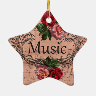 Vintage Floral For love of Music Ceramic Ornament