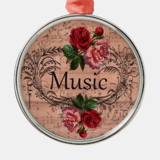 Vintage Floral For love of Music Metal Ornament
