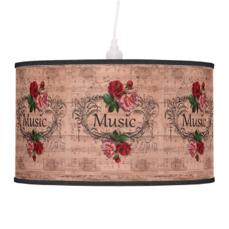 Vintage Floral For love of Music Pendant Lamp