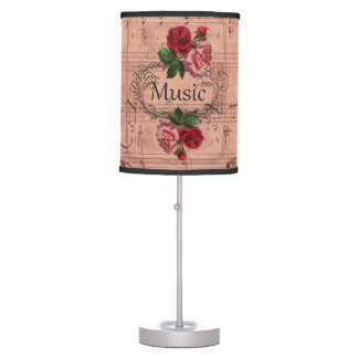 Vintage Floral For love of Music Table Lamp