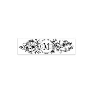 Vintage floral frame and initials wedding pocket stamp