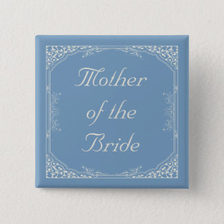 Vintage Floral Frame on Blue Mother of the Bride 2 Inch Square Button