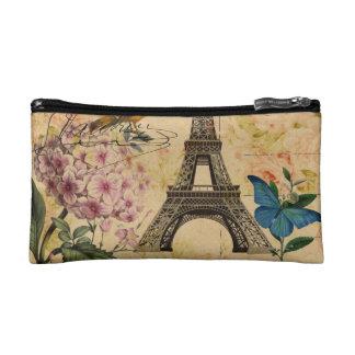 Vintage floral French Bird Paris Eiffel Tower Cosmetic Bag